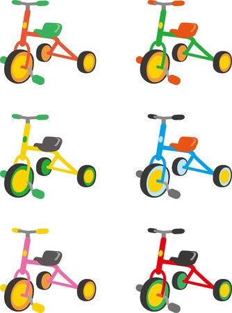 Tricycle. Color variations  イラスト・ベクター素材