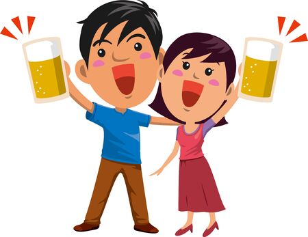 Image illustration of a young couple toasting