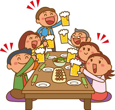 Illustration of a drinking party at work