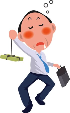 Image illustration of a drunk middle-aged man  イラスト・ベクター素材