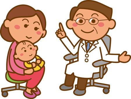 Image illustration of a mother holding a baby and visiting