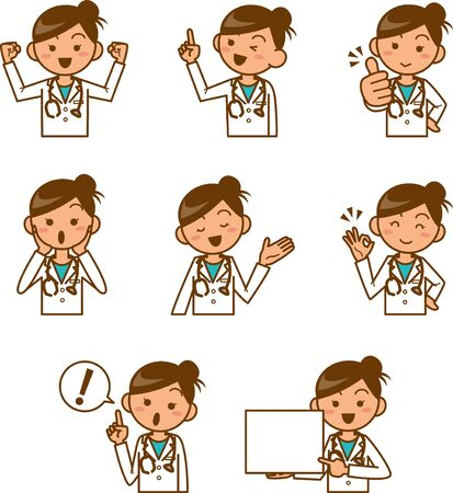Image illustration set of female doctors Stock Illustratie