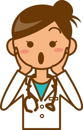 Image illustration of a surprised female doctor Ilustração