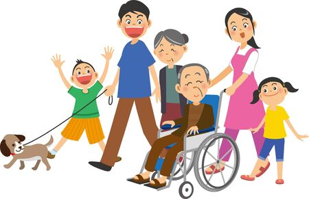 A woman and her family in wheelchairs with elderly men in them Ilustracja