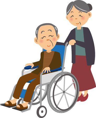 an elderly woman in a wheelchair in which an elderly man is in a wheelchair