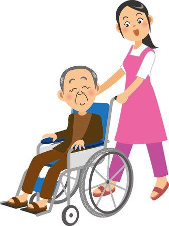a female caregiver in a wheelchair in which an elderly man is in a wheelchair