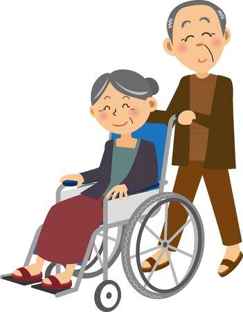 an elderly man in a wheelchair in which an elderly woman is in a wheelchair