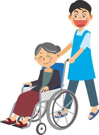 a young male caregiver in a wheelchair in which an elderly woman is riding