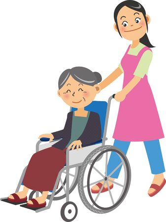 a young female caregiver in a wheelchair in which an elderly woman is riding Ilustracja