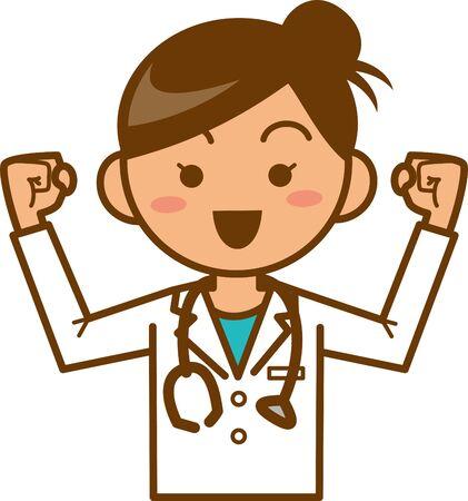 Image illustration of a female doctor posing hard (upper body)