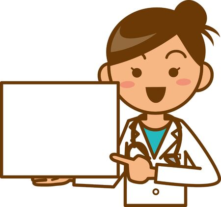 Image illustration of a female doctor guiding with a board (upper body)