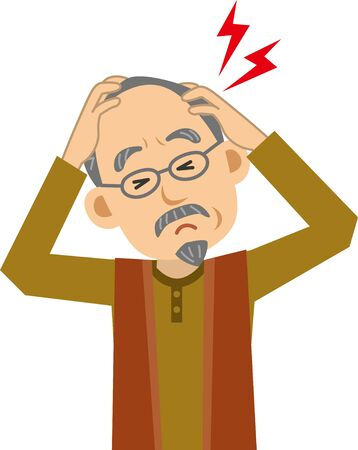 Image illustration of an elderly man with a pain in his head (upper body)  イラスト・ベクター素材