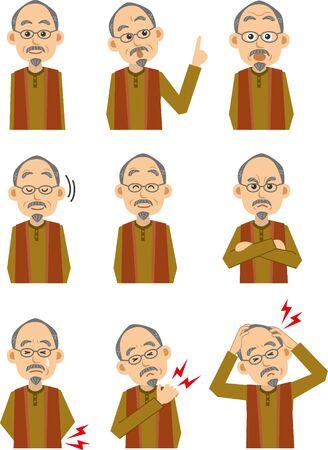 Various facial image illustration set of elderly men (upper body) Ilustração