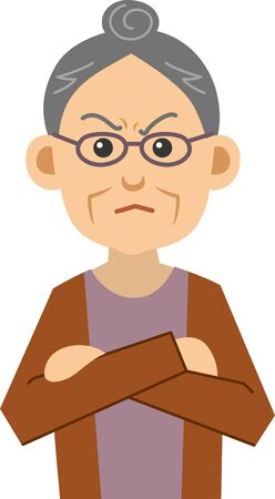 Image illustration of an angry elderly woman (upper body) Vectores