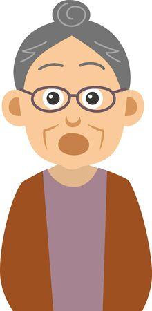Image illustration of an amazing elderly woman (upper body)