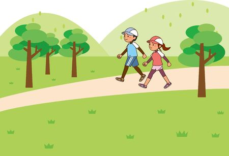 Image illustration of a man and a woman walking on a mountain path