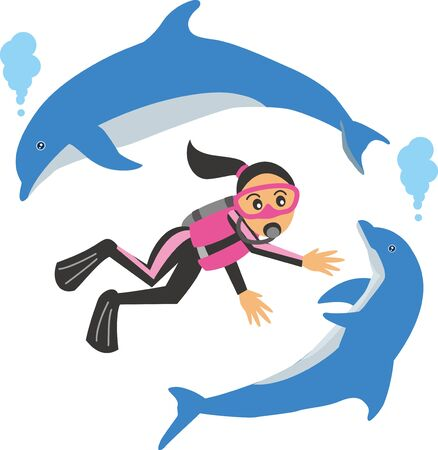 Image illustration of a woman and a dolphin diving scuba