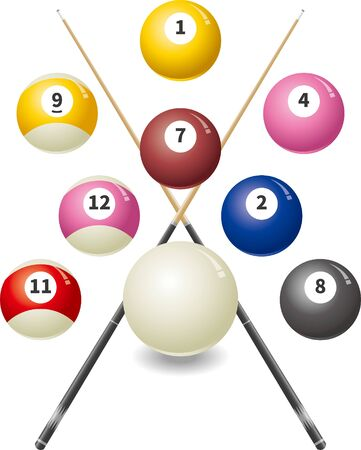 Image illustration of billiard ball and cue