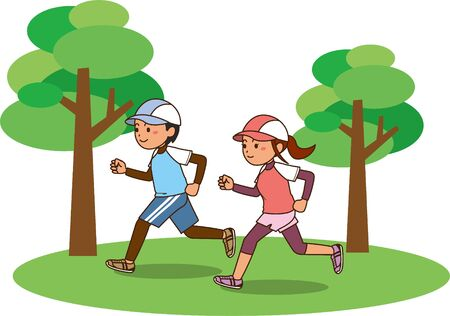 Image illustration of a man and a woman running 向量圖像