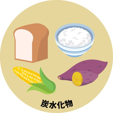 Five major nutrients. Carbohydrate image illustration