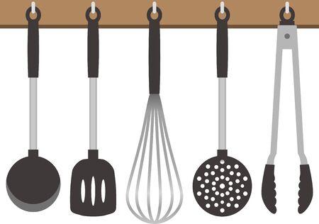 Image illustration of hanging kitchen utensils