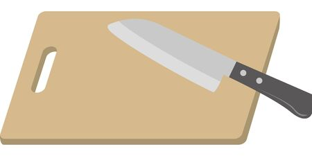 Image illustration of a kitchen knife and cutting board