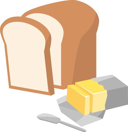 Image illustration of bread and butter Ilustracja