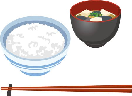 Image illustration of rice and miso soup 矢量图像