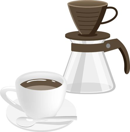 Image illustration of hot coffee and dripper 向量圖像