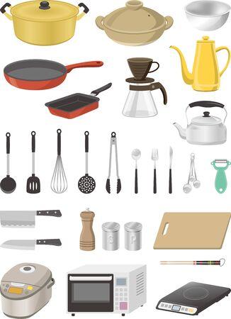 Image illustration set of kitchen utensils