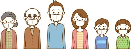 Image illustration of a family of three generations wearing a mask (upper body)