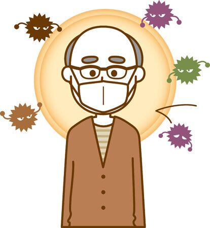 Image illustration of an elderly man wearing a cold prevention mask Ilustracja