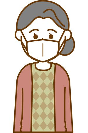 Image illustration of an elderly woman wearing a cold prevention mask