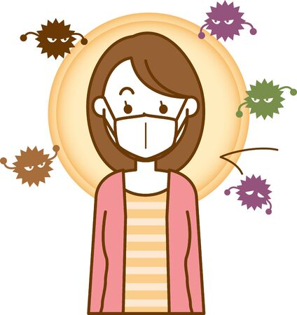 Image illustration of a woman wearing a cold prevention mask