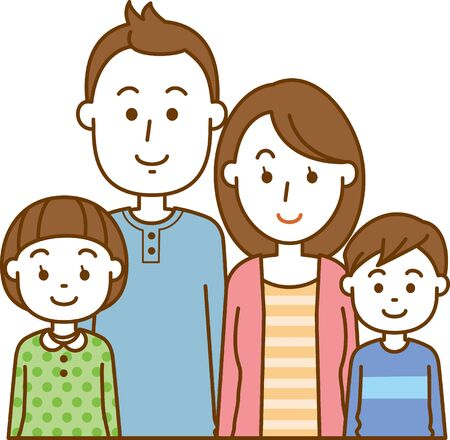 Nuclear. Image illustration of a family of four (upper body) Ilustracja