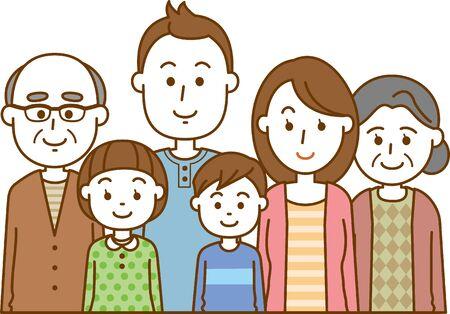 Image illustration of a three-generation family (upper body)