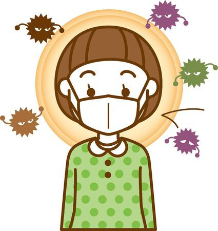 Image illustration of a girl wearing a cold prevention mask