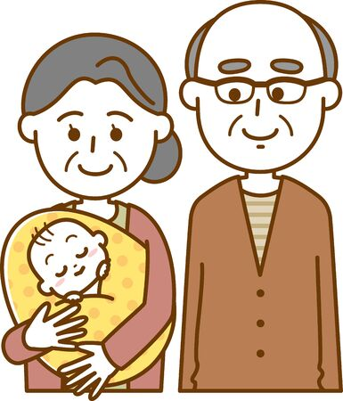 Image illustration of an old woman and an old man holding her grandson