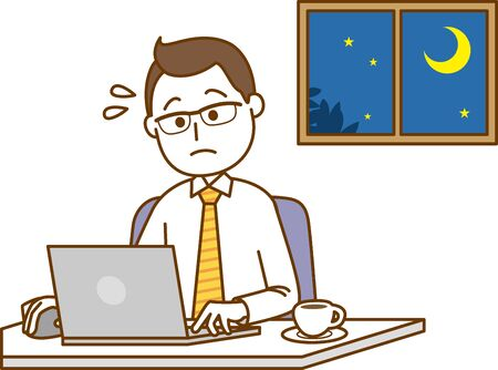 Image illustration of a man operating a laptop in the middle of the night