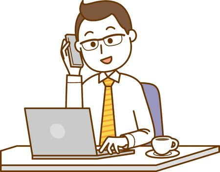 Image illustration of a man operating a laptop while talking on a smartphone Ilustracja
