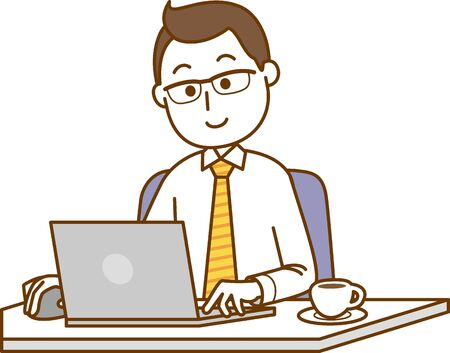 Image illustration of a man operating a laptop
