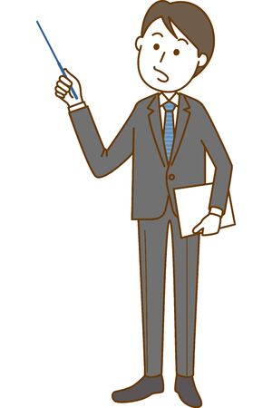 Image illustration of a man in a suit pointing. Systemic