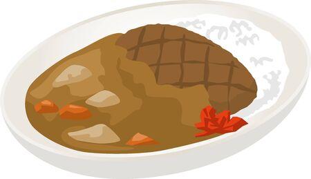 Image illustration of hamburger curry rice