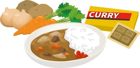 Illustration of curry ingredients and curry Ilustração