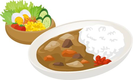 Image illustration set of curry and salad