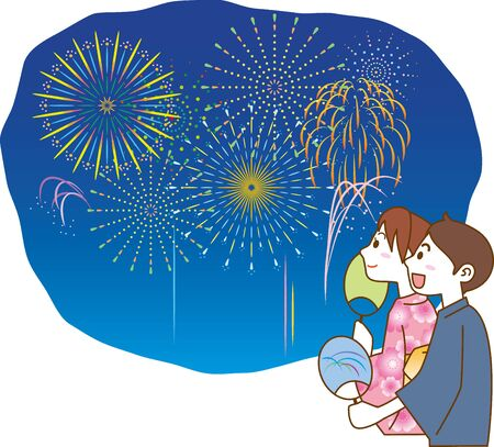 Image illustration of a young couple in yukata looking at the fireworks
