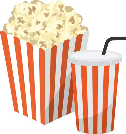 Image illustration of popcorn and drinks