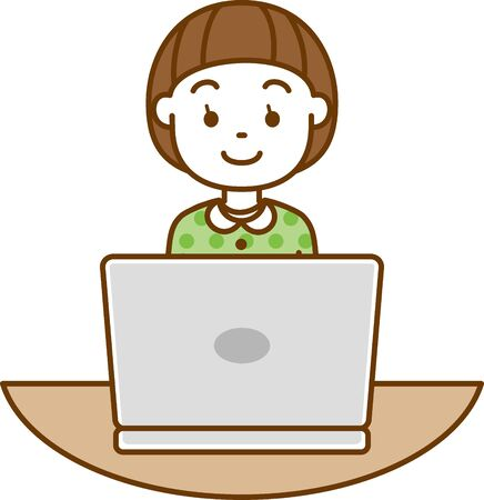 Image illustration of a girl looking open a laptop