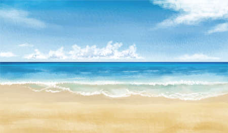 Image illustration of the beach (watercolor style) vector