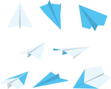 Illustrated set of paper airplanes from various angles
